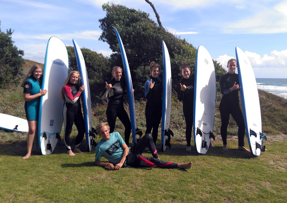 Group surfing lessons with Aotearoa Surf