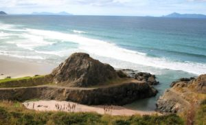 Te Arai Point with the old quarry swimming hole