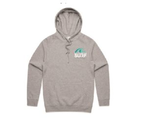 Aotearoa Surf Hoodie FRONT Grey Marle